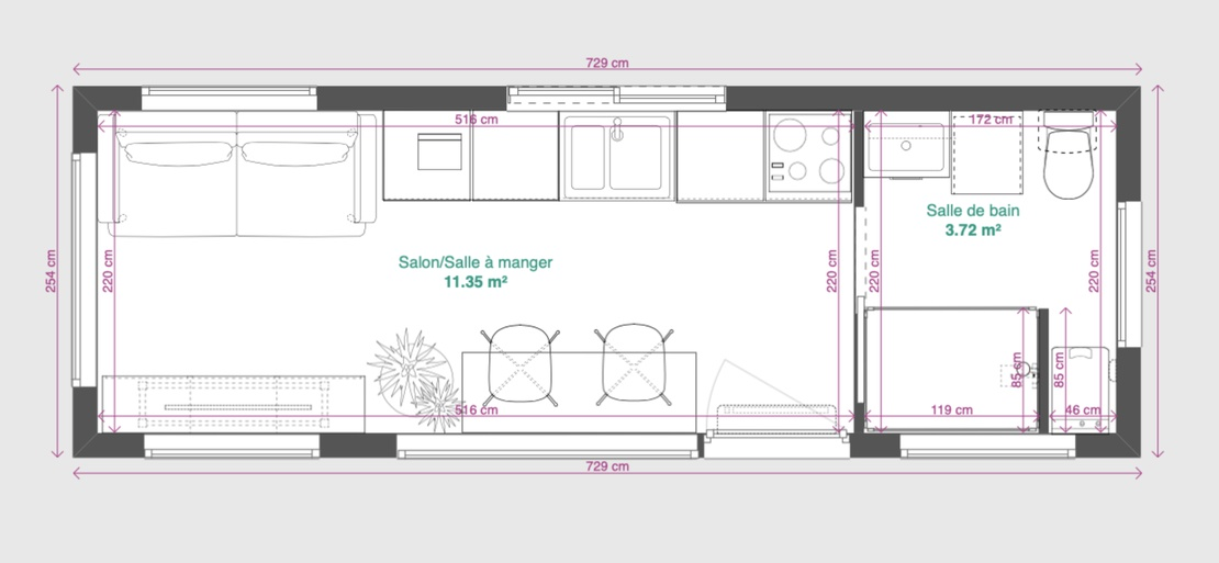 Tiny House N°1 plan au sol